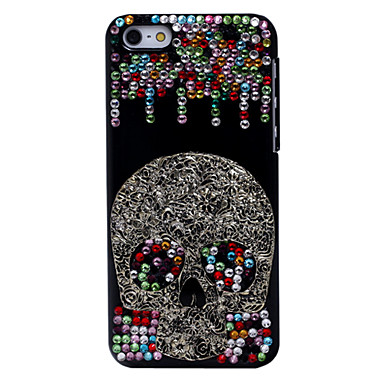 IPhone 5C için Renkli Elmas Soğuk Kafatası Metal Takı Case Arka
