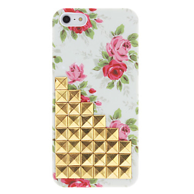 Novidade Design Golden Rebites lá em cima e Rose Pattern Hard Case com adesivo de unha para iPhone 5/5S
