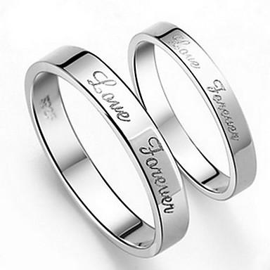 Yüzükler Günlük Mücevher alaşım Kadın Erkek Çift Çift Yüzükleri 1pc 2pcs,5 6 7 8 9 10 8½ 9½ 10½ Gümüş
