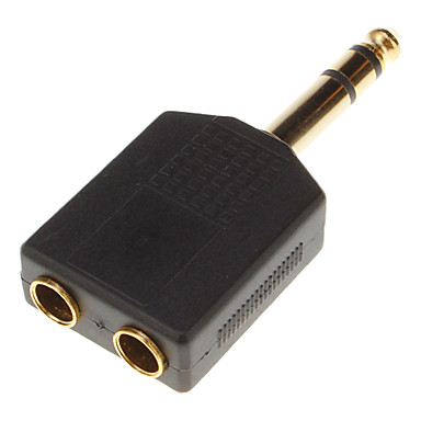 Altın 2 * 3.5mm anahtarı 6.35mm kaplama (kadın erkek)