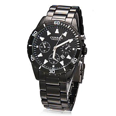 Men's Dress Watch Quartz Japanese Quartz Calendar Band Black Brand