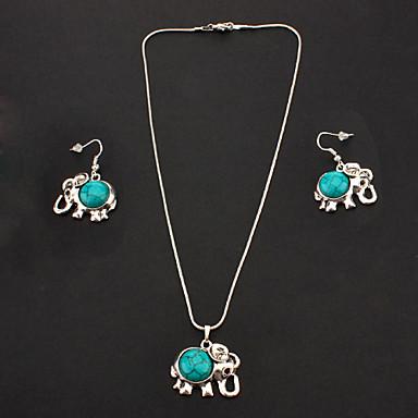 Урожай Синий Бирюзовый (ожерелье, серьги падения) Ювелирные наборы