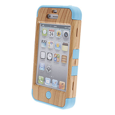 Wood Grain Plastic and Silicone Three-in-one Back Case for iPhone 4/4S(Assorted Color)