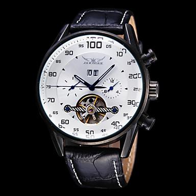 Men's Watch Auto Mechanical Tourbillon Hollow Engraving Calendar Leather Band