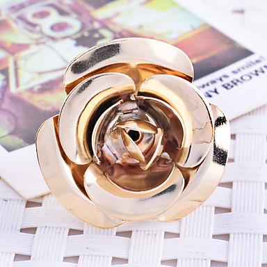 Mulheres Maxi anel Chapeado Dourado Rose Flor Jóias Festa Diário Casual