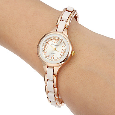 Bayanların Moda Saat Bilezik Saat Quartz imitasyon Pırlanta Bant Beyaz Altın