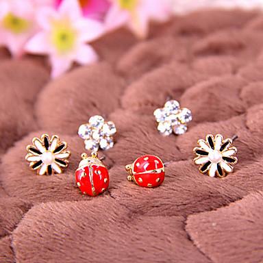 Мода простой ромашке цветы божья коровка алмазный цветок серьги E785