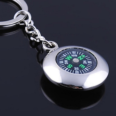 Personalized Engraved Gift Round Compass Shaped Keychain
