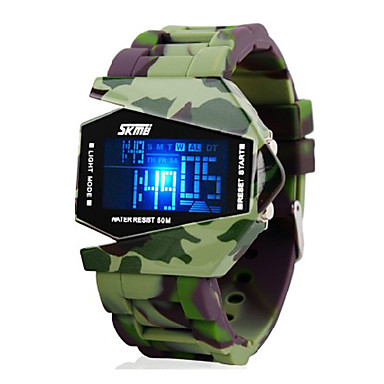 SKMEI Men's Digital Watch / Wrist Watch / Military Watch Alarm / Calendar / date / day / Chronograph Silicone Band Charm Green