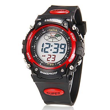 Erkek Dijital Dijital saat Bilek Saati Alarm Takvim Kronograf LCD Kauçuk Bant İhtişam Siyah