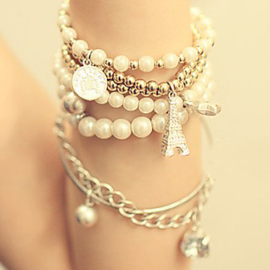 Fahion Women's White Imitation Pearl Eiffel Wrap Bracelet(1 Pc)