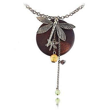 (Wood cristallo di colore della libellula) Bronze Necklace (1 Pc) europeo pendente della lega