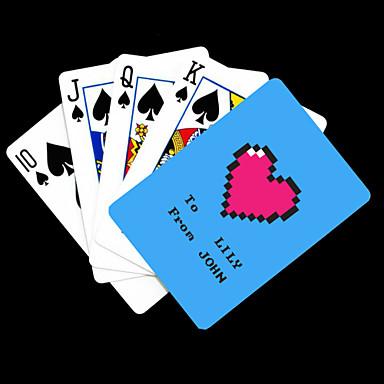 Poker Kart oynamak Kişiye Hediye Mavi Kalp Desenli