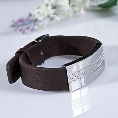 Homme Bracelets en cuir Mode Cuir Bijoux Soirée Quotidien Décontracté Sports Bijoux de fantaisie Noir Marron