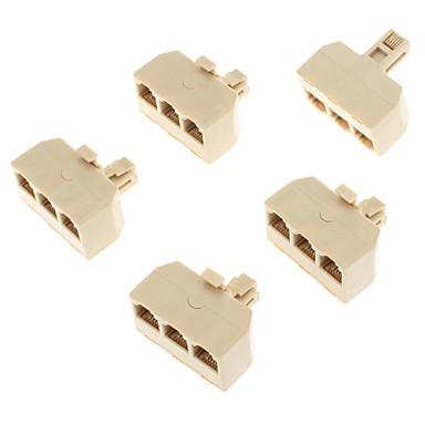 1-Erkek 3-Dişi Telefon Ağ Bağlantısı Splitter Extender Fiş Adaptörü (Sarı, 5 ADET)