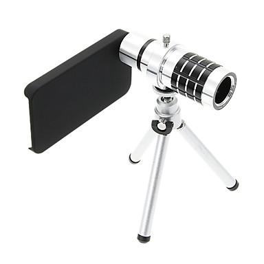IPhone 4S için Tripod ile zoom 12X Telephoto Alüminyum Cep Telefonu Lens