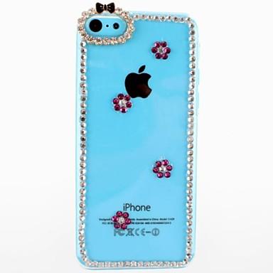 IPhone 5C için Erik Çiçek Desen Şeffaf Plastik Hard Case Diamond