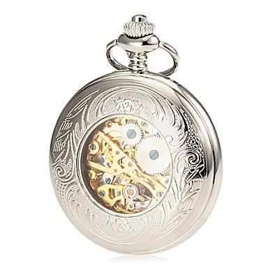 Erkek Cep kol saati mekanik izle Mekanik manual-hareketli Derin Oyma Alaşım Bant Lüks Gümüş