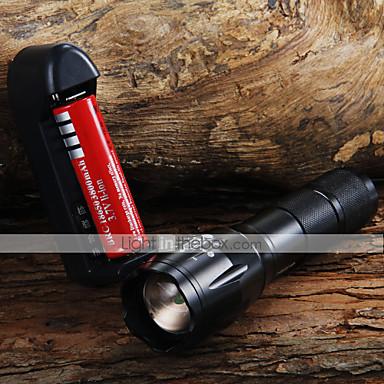 LED Fenerler LED 1600 lm 3 Kip Cree XM-L T6 Pil ve Şarj Aleti ile Zoomable Ayarlanabilir Fokus Kamp/Yürüyüş/Mağaracılık Günlük Kullanım