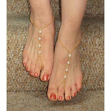 Χαμηλού Κόστους Κοσμήματα σώματος-Κοσμήματα Σώματος 10 cm Σανδάλια για γυμνό πόδι Ασημί / Μπρονζέ / Χρυσαφί Απομίμηση Μαργαριταριού / Κράμα Κοστούμια Κοσμήματα Για Πάρτι / Καθημερινά / Causal 10.0*8.0*2.0 cm Καλοκαίρι