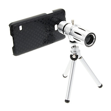 Samsung S5 için Tripod ile zoom 12X Telephoto Metal Cep Telefonu Lens