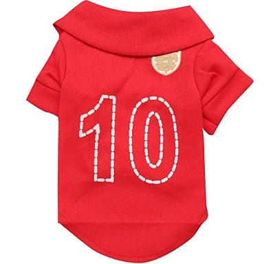 Kat Hond T-shirt Shirt Hondenkleding Sport Letter & Nummer Rood Kostuum Voor huisdieren