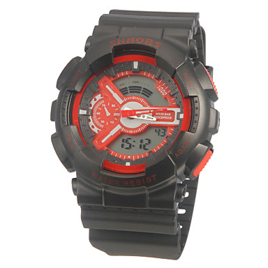 Men's Digital Watch Sport Watch Quartz Digital Alarm Calendar / date / day Chronograph Dual Time Zones LCD Silicone Band Black