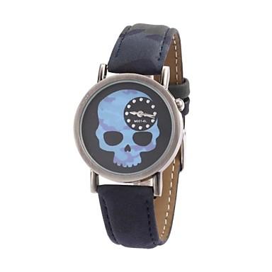 Feifan Unisex Vintage Schedel Patroon Stof met pu band quartz analoog horloge (Camo)