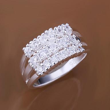 Dames Zirkonia / Kubieke Zirkonia / Verzilverd Statement Ring - Gepersonaliseerde / Modieus Zilver Ring Voor Bruiloft / Feest