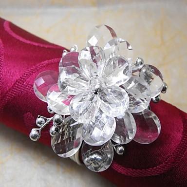 Çok Renkli Peçete Ring, Akrilik Beades, 3.5cm, 12 Set Kristal Boncuk Çiçek,
