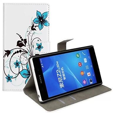 Sony Xperia Z2 için Standı ve Kart Yuvası Mavi Çiçek Desen PU Deri Tüm Vücut Kılıf
