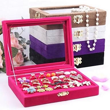 Cutii de Bijuterii Perle Flanelă Hârtie Reciclabilă Geometric Shape Roze Cafeniu Negru Violet Gri