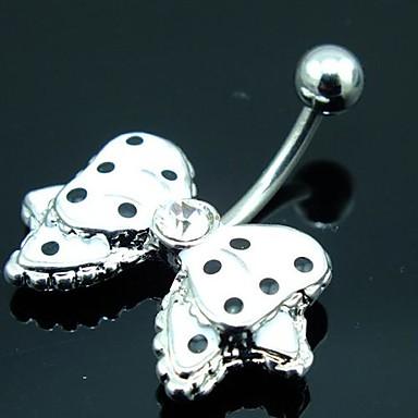 Kadın's Vücut Mücevheri Göbek Halkası / Göbek Piercing Kristal Gümüş Kostüm takısı Uyumluluk Günlük 3.5*1.8*0.6 Yaz