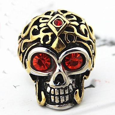 Inel de declarație Auriu Oțel titan Craniu Cadouri de Crăciun Zilnic Costum de bijuterii