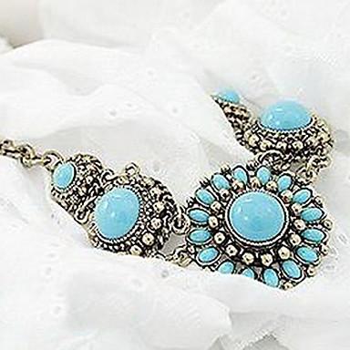 European Classic Bohemia (Blue Gem) Golden Alloy Statement Necklace (1 Pc)