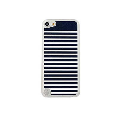 Black White Stripes  Leather Vein Pattern PC Hard Case for iPod touch 5