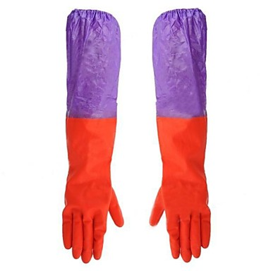 impermeabil de curățare bumbac de cauciuc două secțiuni mănuși manșon pereche