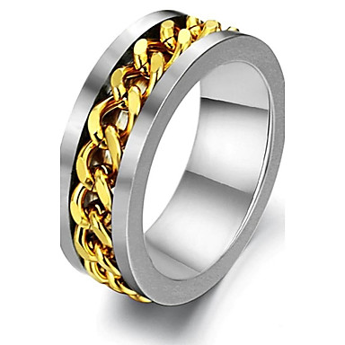 Personality Golden Steel Chain Rotation Titanium Steel Men's Ring