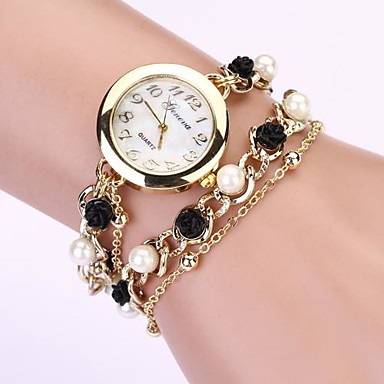 Women's Quartz Bracelet Watch Imitation Diamond Metal Band Pearls Elegant Fashion Black