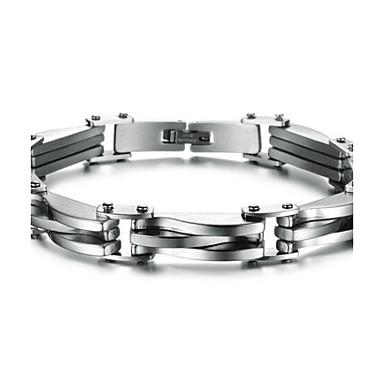 voordelige Heren Armband-Heren Armbanden met ketting en sluiting Dames Gepersonaliseerde Modieus Initial Roestvast staal Armband sieraden Zilver Voor Kerstcadeaus Dagelijks / Titanium Staal
