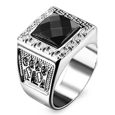 Homens Mulheres Aço Inoxidável Acrílico Imitações de Diamante Anel de declaração - Quadrada Forma Geométrica Jóias Personalizada Amor