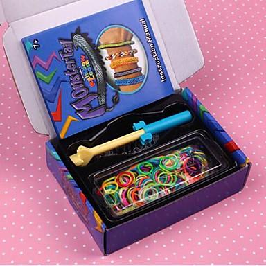 300pcs banda de silicon benzi colorate mini DIY culoare curcubeu stil război de țesut bratari 300pcs, 12 s-clipuri, 1looms, 1hook + 1box