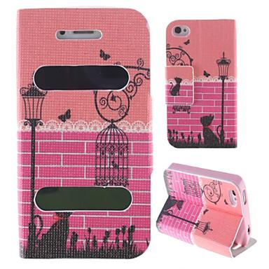 Housse en cuir Flip de luxe Cage Design Nouvelle puce pour iPhone 4/4S