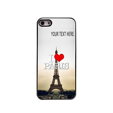 gepersonaliseerd geval ik houd van Parijs Eiffeltoren ontwerp metalen behuizing voor de iPhone 5 / 5s