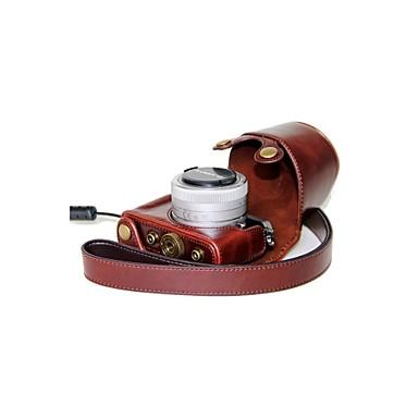dengpin® δερμάτινη προστατευτική θήκη φωτογραφικής μηχανής τσάντα κάλυμμα με ιμάντα ώμου για Panasonic Lumix DMC-GM1 με 12-32mm φακό