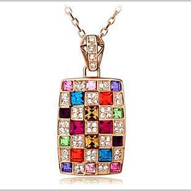 preiswerte Halsketten-Damen Kristall Pendant Halskette Regenbogen damas Österreichisches Kristall Aleación Farbbildschirm Modische Halsketten Schmuck Für
