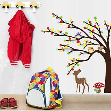 doudouwo® autocolante de perete decalcomanii de perete, animalele colorate și frumoase owl cerb copac pvc autocolante de perete 1pc