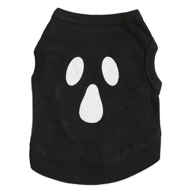 cheap Dog Clothing & Accessories-Cat Dog Shirt / T-Shirt Dog Clothes Skull Black Cotton Costume For Spring &  Fall Summer Men's Women's Halloween
