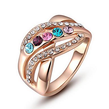 Anéis Pesta / Diário / Casual Jóias Zircão / Cobre Feminino Anéis Statement6 / 7 / 8Dourado / Transparente / Cor de Rosa / Vermelho /