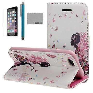 coco fun® model fluture fată PU caz din piele, cu ecran protecter, stativ și stylus pentru iPhone 6 plus 5.5